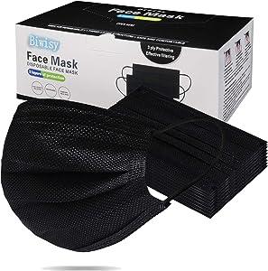 Biwisy 50pcs 3-Ply Disposable Face Mask Breathable Black Masks of 50 PCS Black