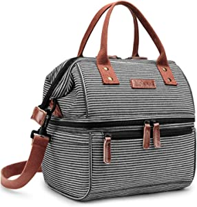 Lokass Lunch Bags for Women Wide Open Insulated Lunch Box With Double Deck Large Capacity Cooler Tote Bag With Removable Shoulder Strap Lunch Organizer For Outdoor/Work(Black+White)