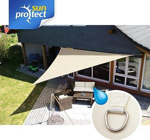 sunprotect 83286 Waterproof Toldo / Vela de Sombra, 5 x 5 x 7 m, Triángulo de 90 grados, crema: Amazon.es: Jardín