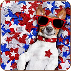Coasters for Drinks Glasses Dog Lying Star Leather Square Mug Cup Pad Mat for Protect Furniture, Heat Resistant, Kitchen Bar Decor, Set of 6