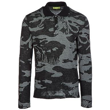 6010d3c6861 Versace Jeans t-Shirt Manches Longues col Polo Homme Gris EU 48 (UK ...