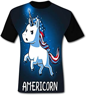 Novelty Graphic American Unicorn Men's T-Shirt With Cool Picture 3XL