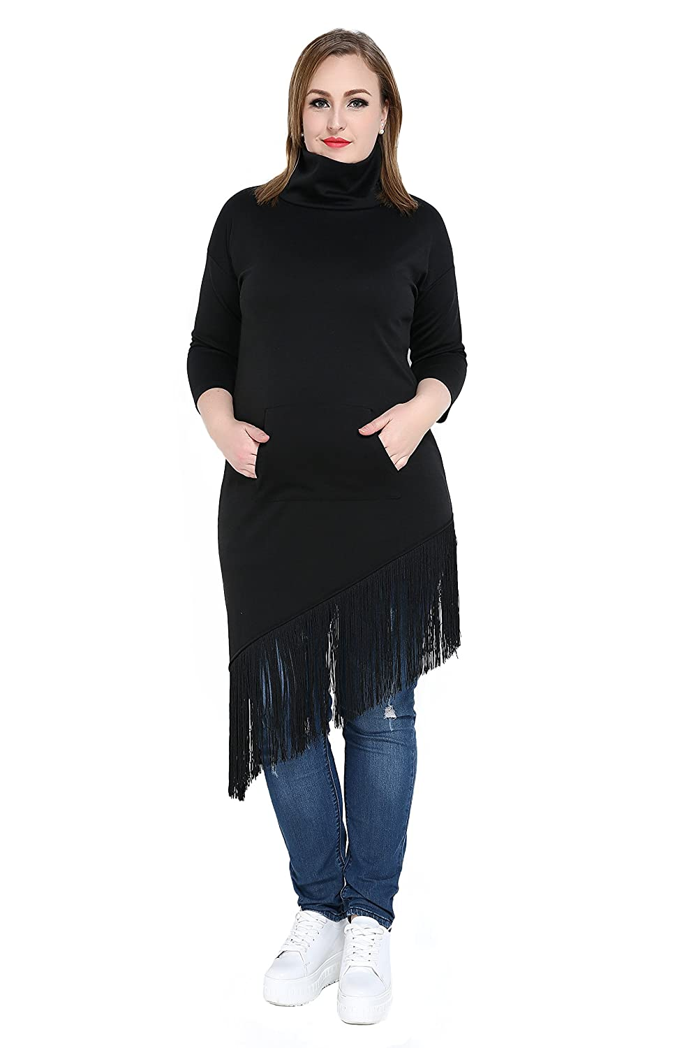 Really Love Women's Quarters Sleeve Asymmetrical Plus Size Long Oblique Casual Sweaters With Tassel