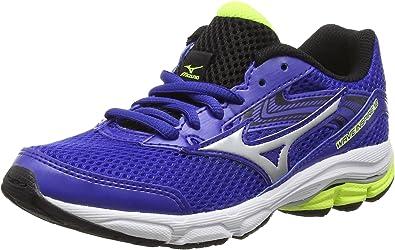 Mizuno Wave Inspire 12 Jnr - Zapatillas de running para chico, color azul (Surf the Web/Silver/Safety Yellow), talla 34: Amazon.es: Zapatos y complementos