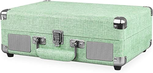 Victrola VSC-550BT-LMN Bluetooth Suitcase Record Player with 3-Speed Turntable, Light Mint Green Linen