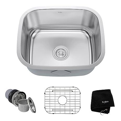 kraus kbu11 20 inch undermount single bowl 16 gauge stainless steel kitchen sink kraus kbu11 20 inch undermount single bowl 16 gauge stainless      rh   amazon com