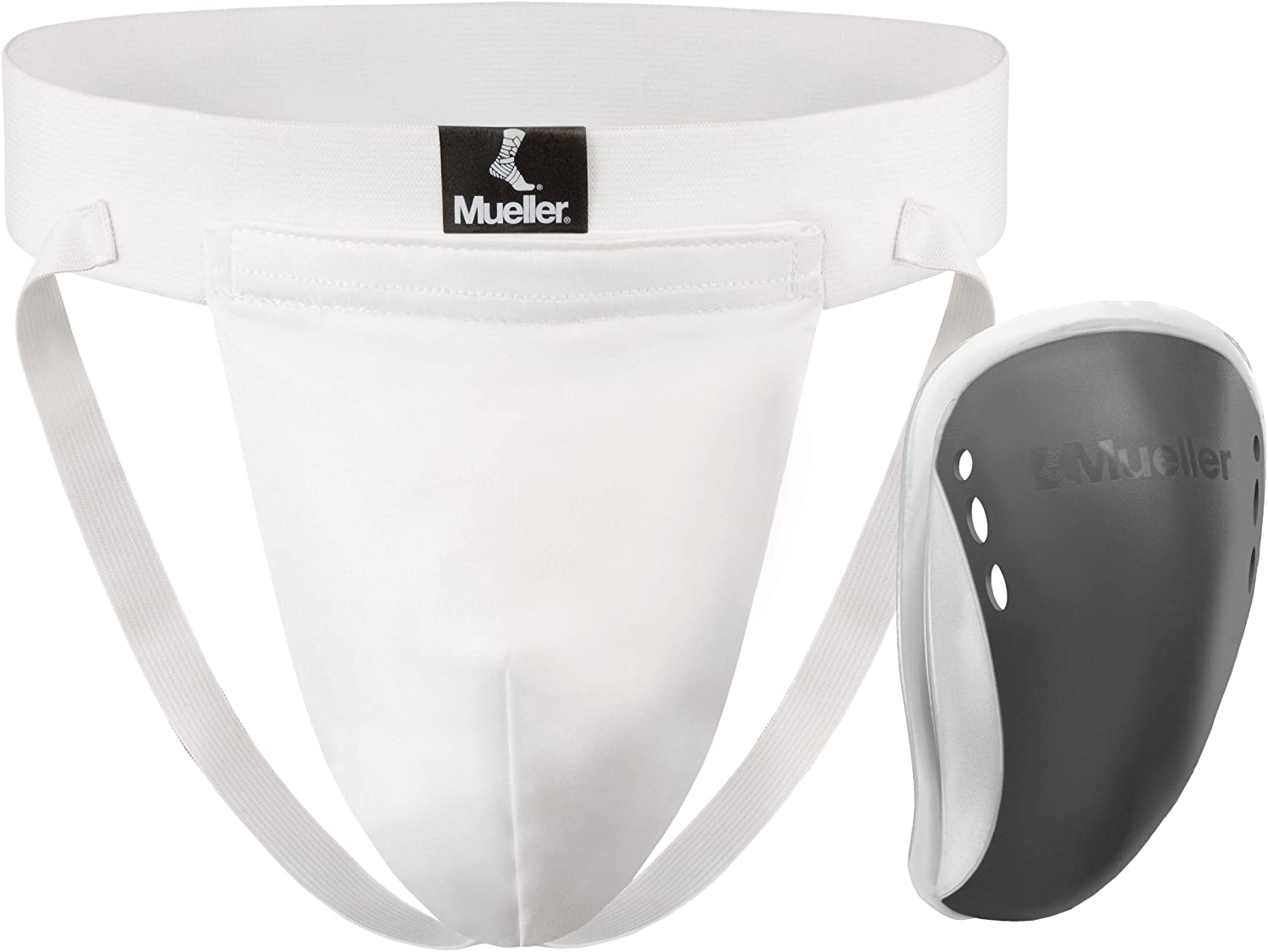 Mueller Adult Athletic Supporter with Flex Shield Cup, White/Gray, Adult Extra Large
