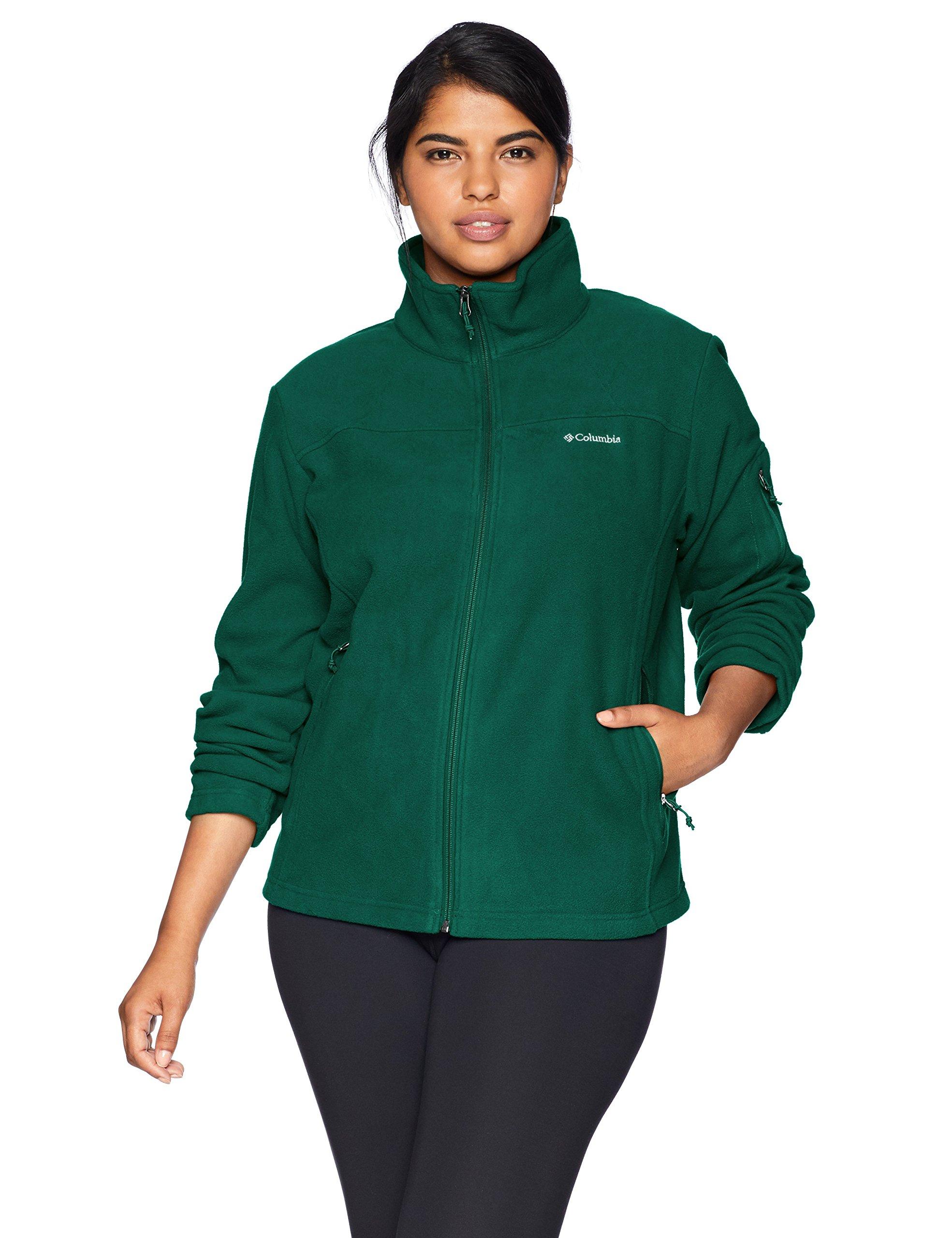 Columbia Women's Fast Trek II Full Zip Plus Size Fleece Jacket, Dark Ivy, 2X