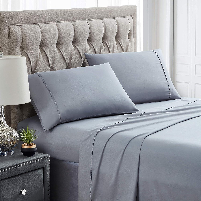 Spirit Linen Home Bed Sheet 4pc Sleep Wellness Solid Bed Sheet Set Super Soft and Comfy Microfiber 1800 Bedding - Extra Deep Pocket Hypoallergenic (Queen, Gray)