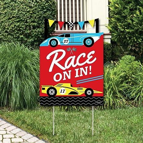Amazon Com Big Dot Of Happiness Let S Go Racing Racecar Party