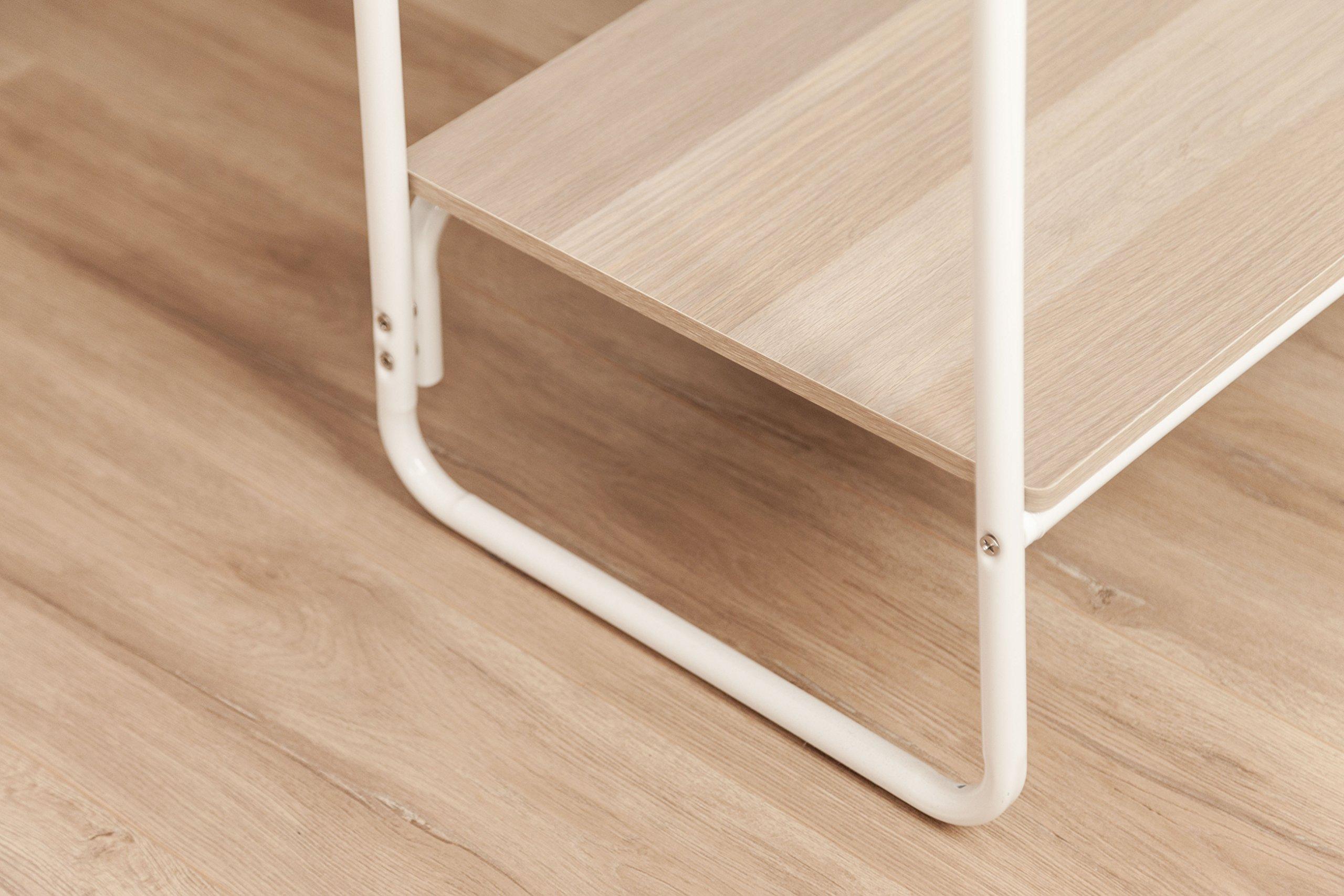 IRIS Metal Garment Rack with 2 Wood Shelves, White and Light Brown by IRIS USA, Inc. (Image #5)