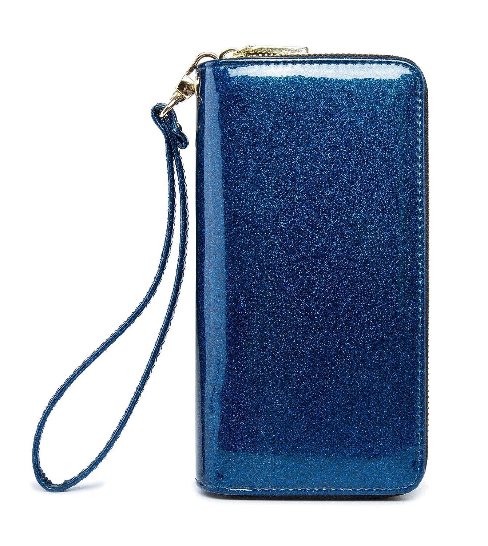 Zgbluee2528 LIKESHE Women PU Double Zip Around Clutch Large Travel Purse Wrist Strap Blocking Wallet