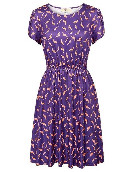grace karin womens casual summer elastic short sleeves dress purple size s cl624 2