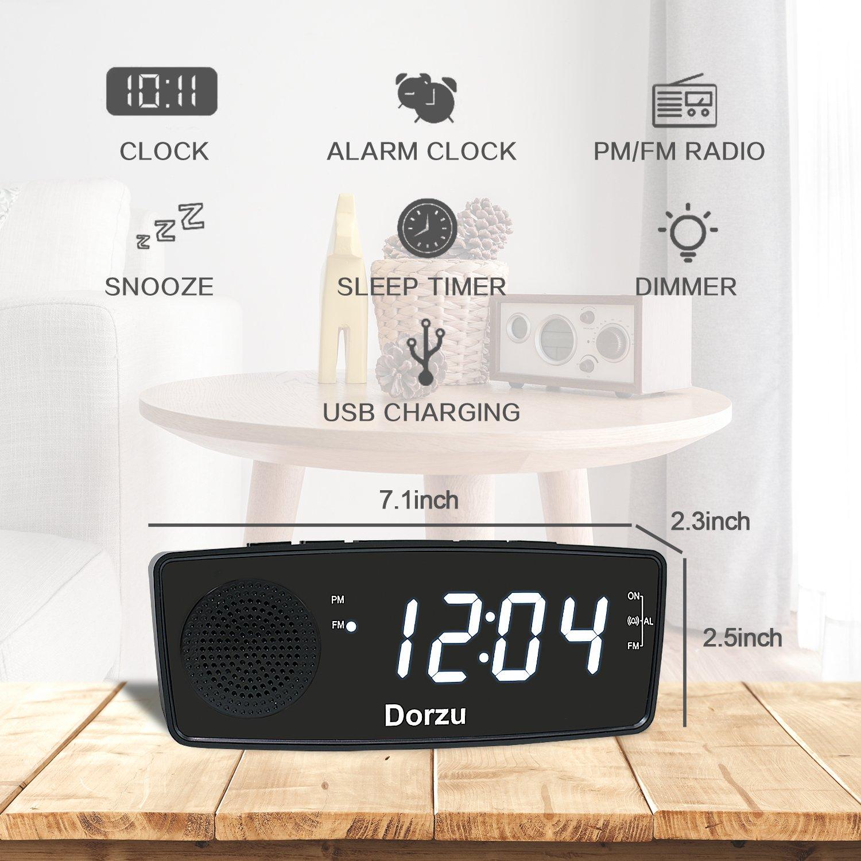 Amazon.com: Dorzu - Reloj despertador con radio FM, digital ...