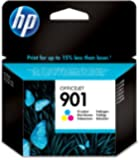 HP 901 Tri-color Officejet Ink Cartridge - Cartucho de tinta para impresoras (Cian, Magenta, Amarillo, Estándar, 360 páginas, 20 - 80%, -40 - 60 °C, 15 - 32 °C)