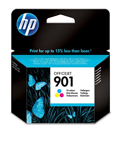 HP 901 Tri-color Officejet Ink Cartridge - Cartucho de tinta para impresoras (Cian, Magenta, Amarillo, Estándar, 360 páginas, 20-80%, -40-60 °C, 15-32 ...