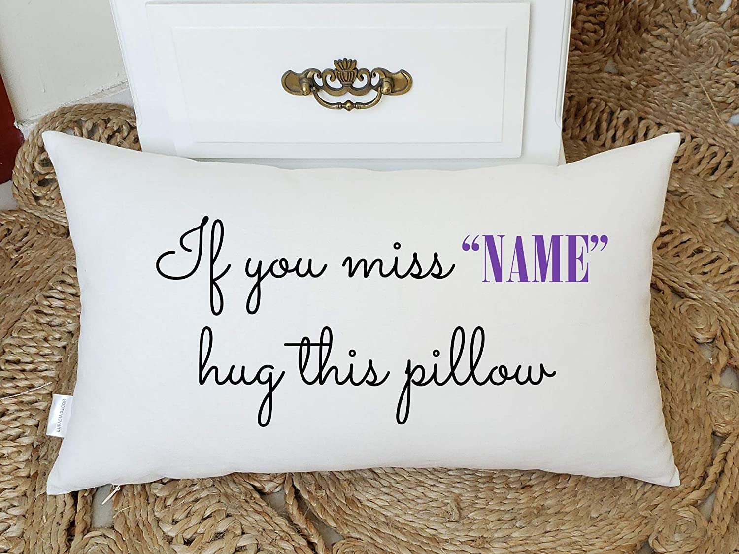 Yugtex Cushion Cover Personalized Name Pillow, Long distance relationship Gift Pillow case Personalized Boyfriend Love Friendship Friend I miss you If you miss me hug this pillow