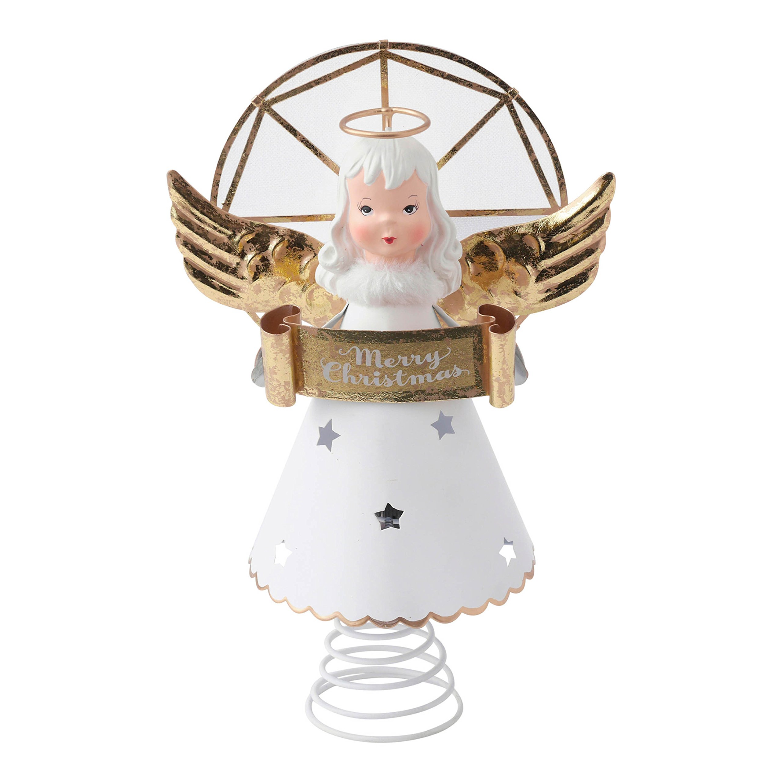 Hallmark Home Vintage Inspired Metal Angel Tree Topper with Light