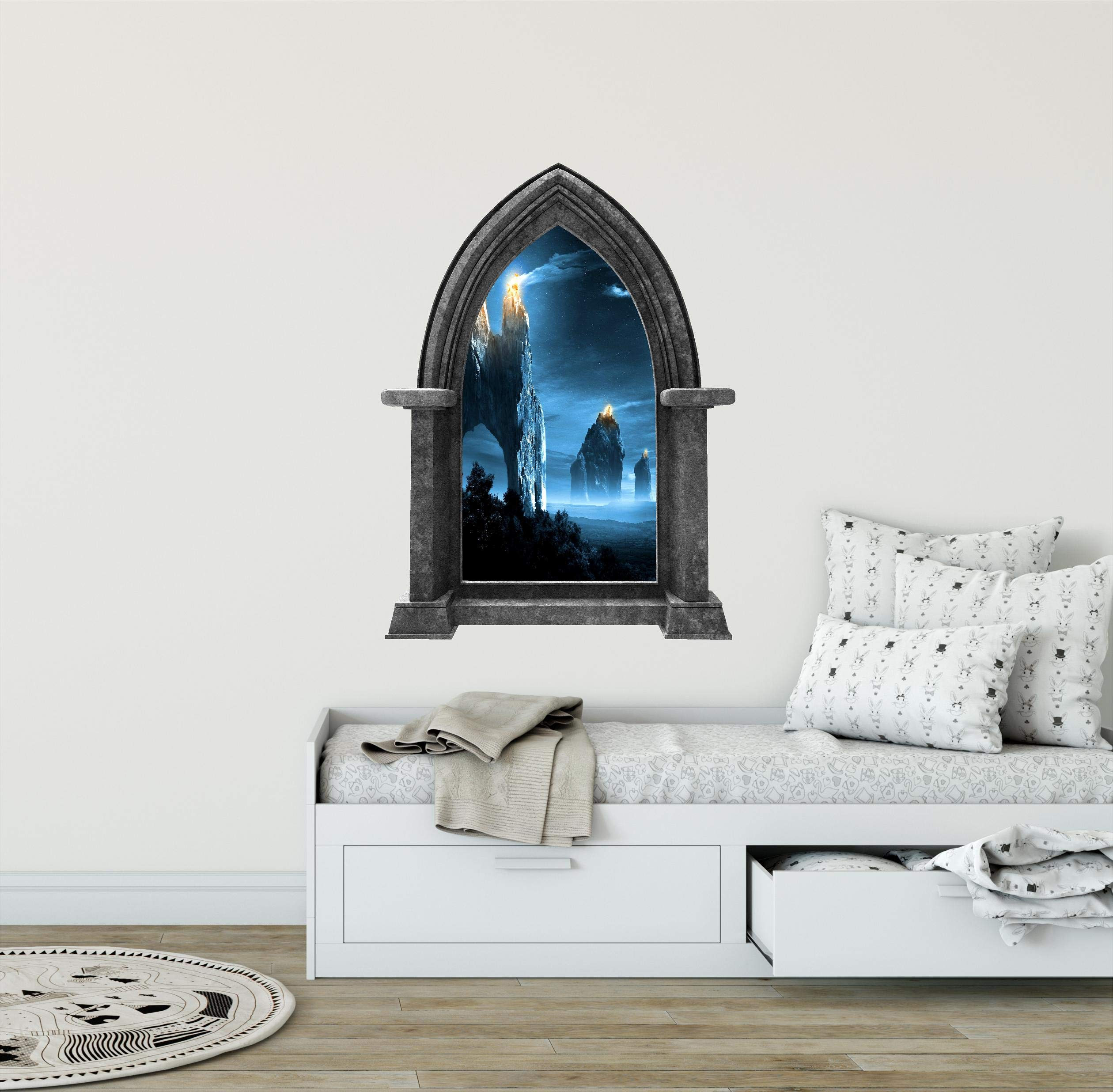 24'' Castle Scape Beacons in the Night GRANITE 3D Stone Window Wall Decal Sticker Mural Mythical Medieval Knights Armor Fantasy Fictional Fairy Tale Kids Playroom Decor