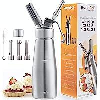 Runesol Sifon de cocina para espumas Profesional, Sifón de cocina, Dispensador de crema batida de aluminio premium…
