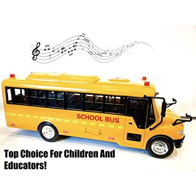 Big Daddy Huge Yellow School Bus with Lights and Cool Openable Doors Pull Back Toy School Bus with Sounds and Songs for Girls, Boys, Toddlers: Toys & Games