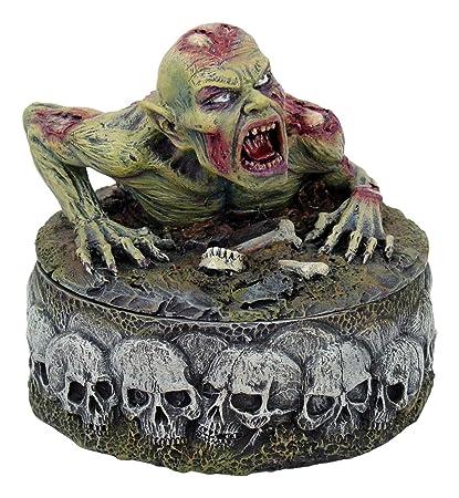 Zombie with Skull and Bones Trinket Jewelry Box Statue Figurine