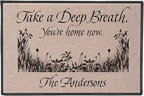 WHAT ON EARTH Personalized Your Name Take A Deep Breath You re Home Now Doormat – Olefin Welcome Mat – 27 x 18