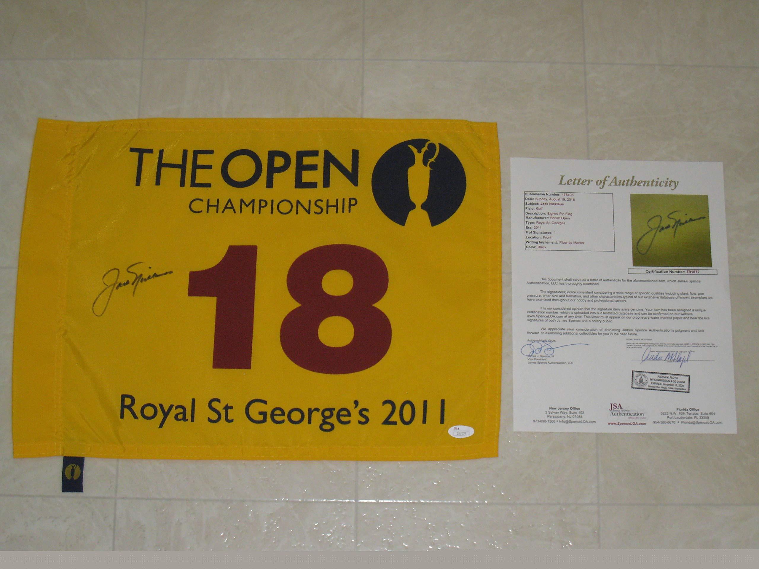 Jack Nicklaus Autographed 2011 British Open Royal St. George's The Open Tournament Flag (JSA COA)