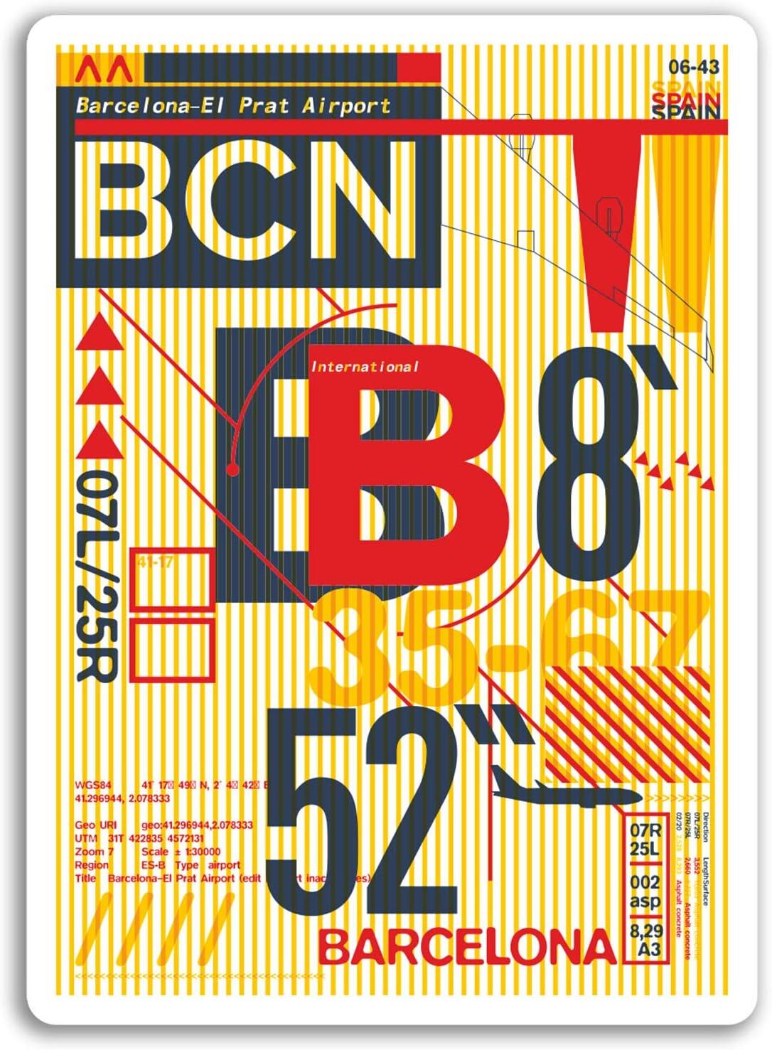 2 x 10 cm Aeropuerto de Barcelona - España pegatinas de vinilo ...