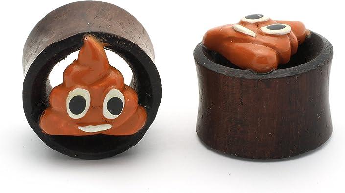 Tic wood Poop emoji Plugs Double Flare Tunnel Organic Wood Ear Plug Gauges Body Piercing Jewelry Pair