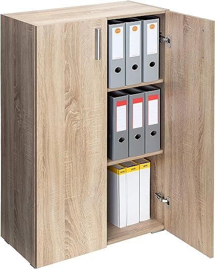 Deuba Mueble Vela Armario con 2 Puertas 3 estantes versatil Color Roble Multiuso almacenaje 115,5cm x 60cm x 31cm
