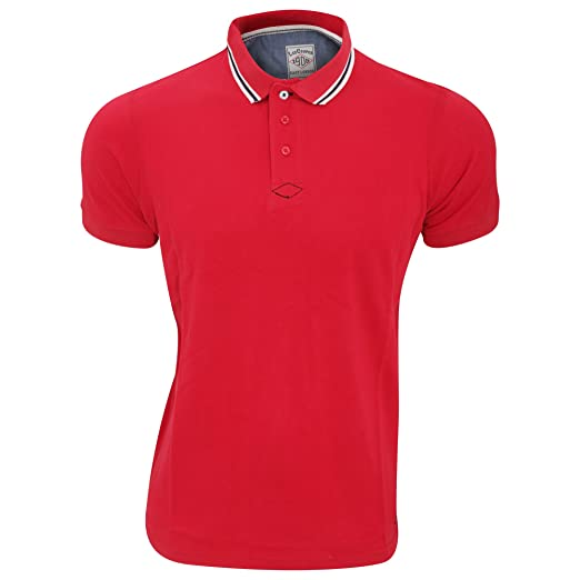 40ea475b2 Lee Cooper Mens RYDE Cotton Short Sleeved Polo Shirt (Small) (Red ...