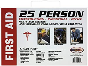Rapid Care First Aid RC-25MAN-M 25 person 166 Piece ANSI/OSHA Compliant First Aid Kit in Wall Mountable Metal Case