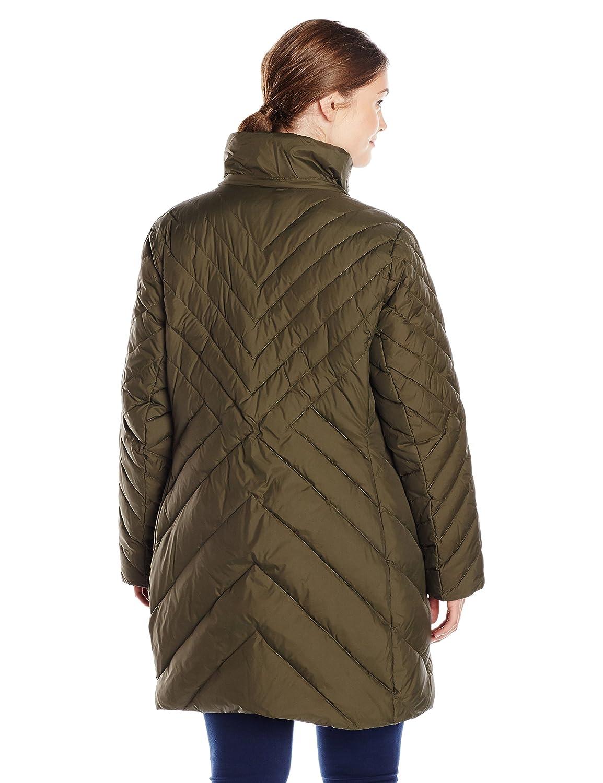 a7b3b35c3 Larry Levine Women's Plus-Size Mid-Length Coat with Faux Fur-Trim ...