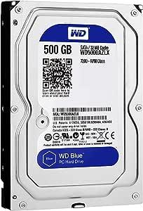 """Western Digital Blue 500GB Desktop Hard Disk Drive - 7200 RPM Class SATA 6Gb/s 32MB Cache 3.5"""" - WD5000AZLX"""