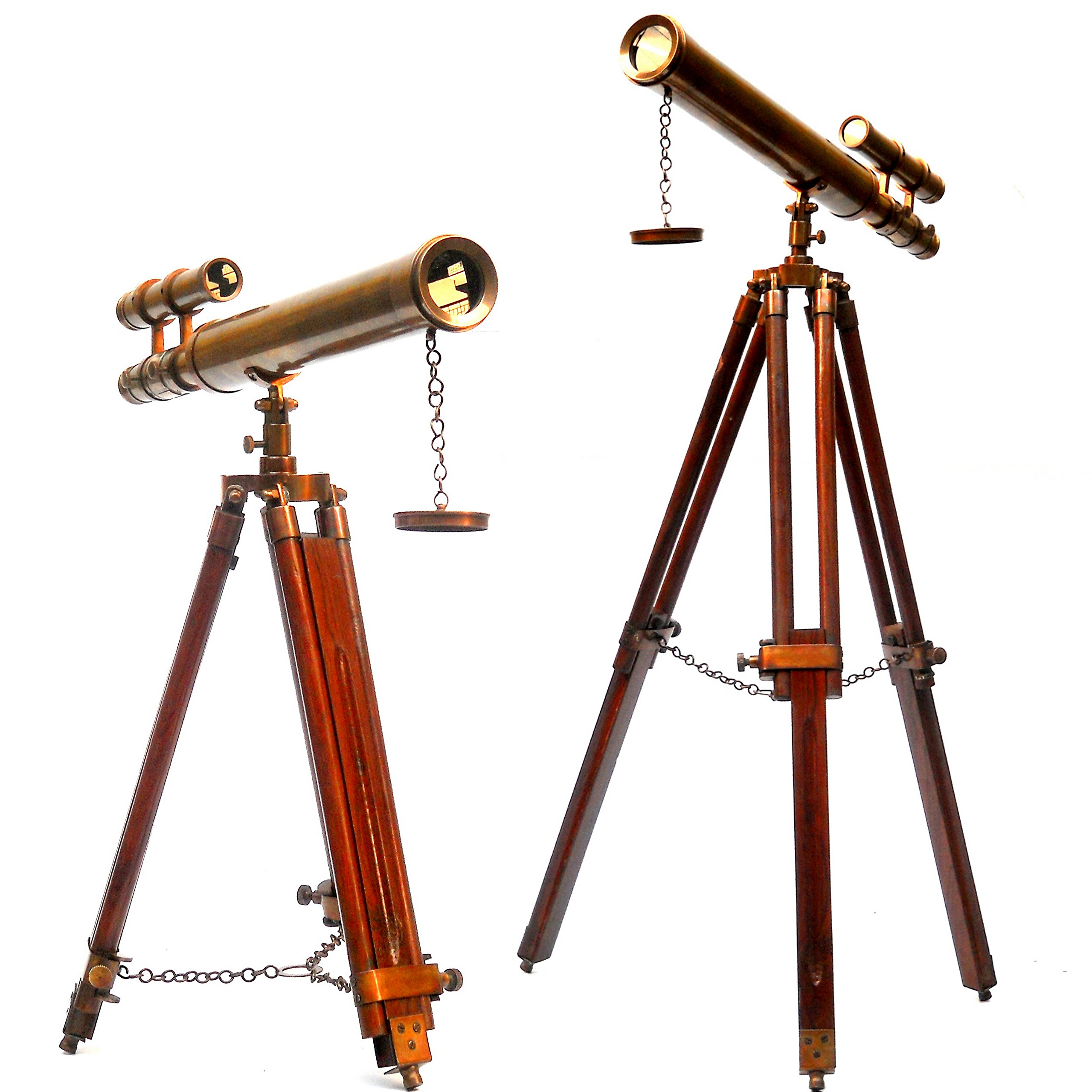 collectiblesBuy Nautical Vintage Marine Antique Telescope with Wooden Unique Tripod Handmade Double Barrel Handicraft Low Floor Standing Desk Decor by collectiblesBuy