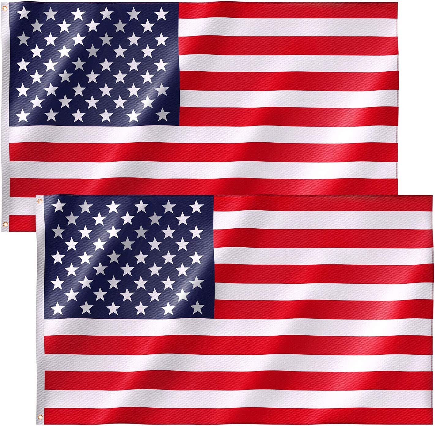 Free Walker American Flag 3x5 FT 2PACKS, Premium Nylon US Flags with Bright Vibrant Color and Brass Grommets for Indoors and Outdoors, Durable USA Flag for Outside(2xBreeze Style) : Garden & Outdoor