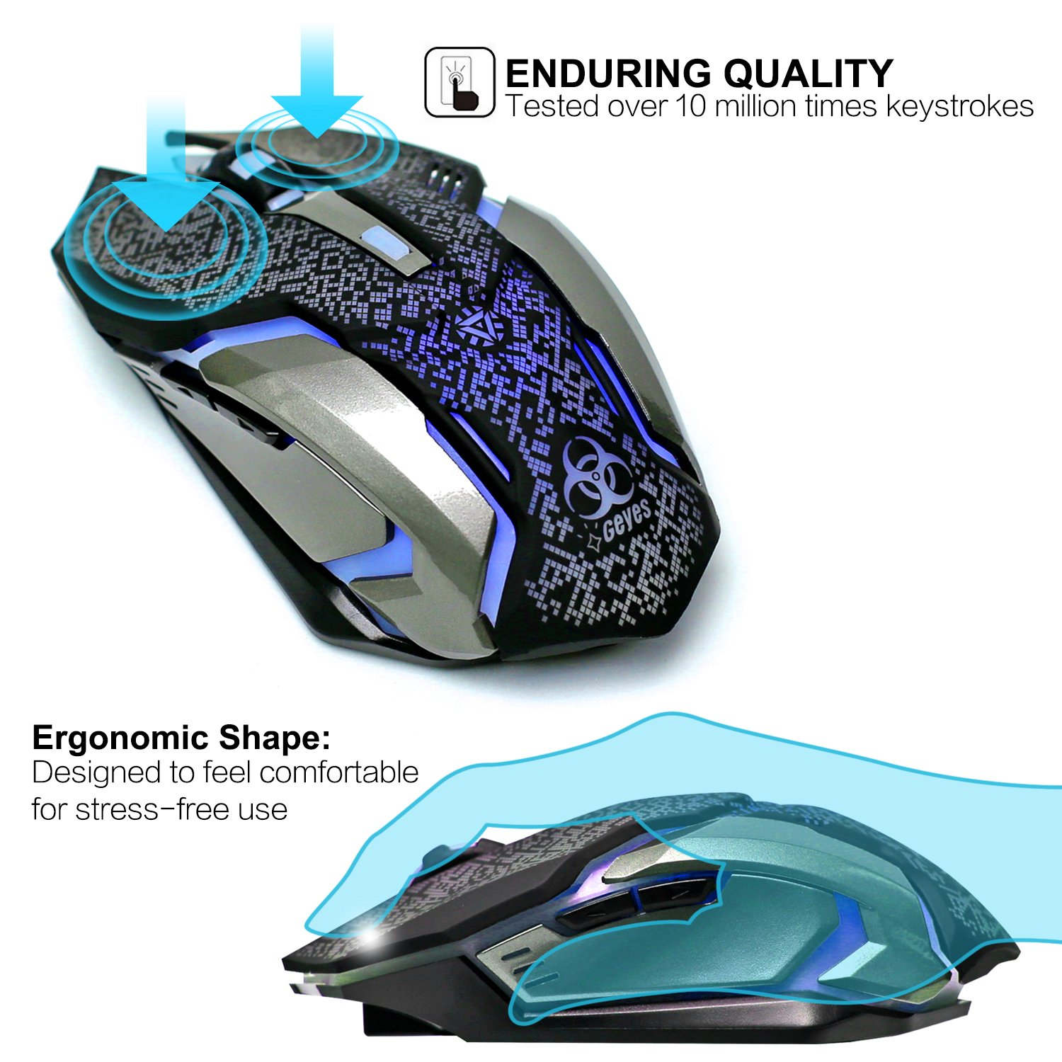 VEGCOO C8 Silent Click Wireless Rechargeable Mouse with Colorful LED Lights and 2400//1600//1000 DPI 400mah Lithium Battery for Laptop and Computer C9 Black Wireless Gaming Mouse