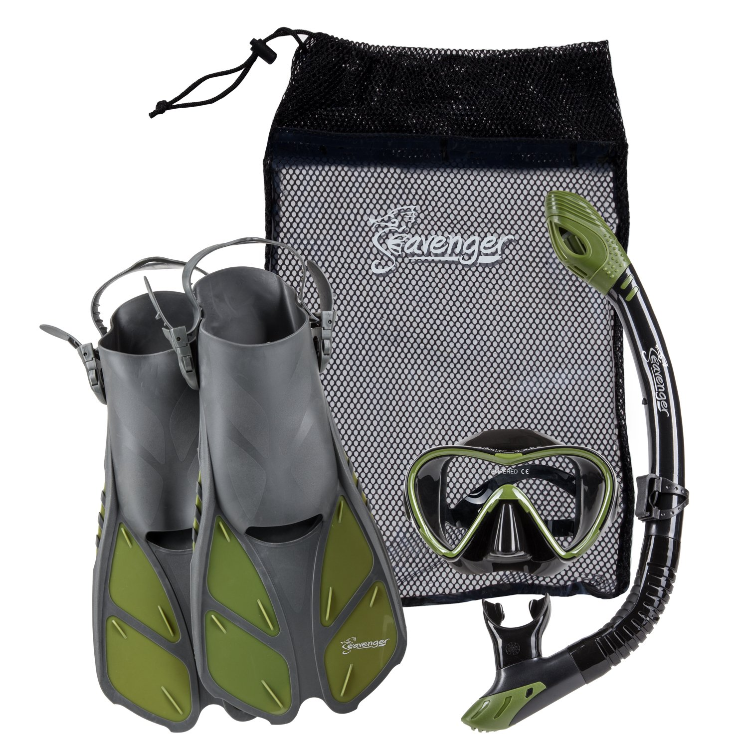 Seavenger Diving Set with Silicone Mask, Trek Fins/Flippers, Dry Top Snorkel and Quick Dry Gear Bag (Gray/Black Silicone/Green, S/M)