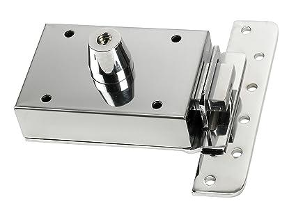 Inceca 3660005 - Cerradura de sobreponer contra palanca, doble cilindro (acero, bombillo de