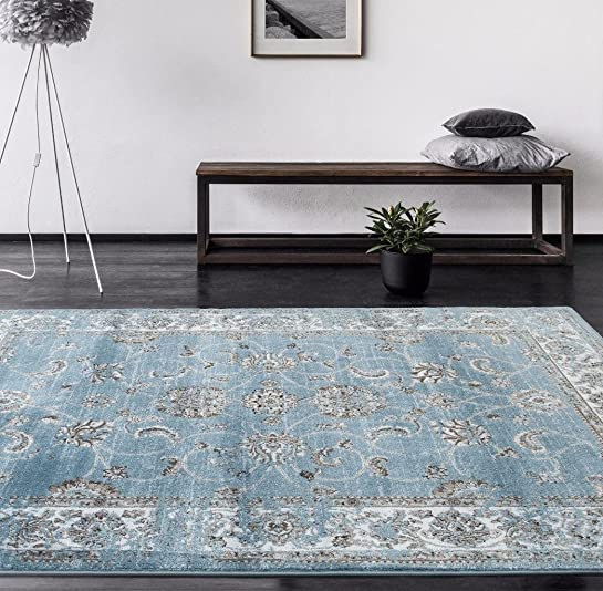 4535 Distressed Blue 7'10×10'6 Area Rug Carpet Large New