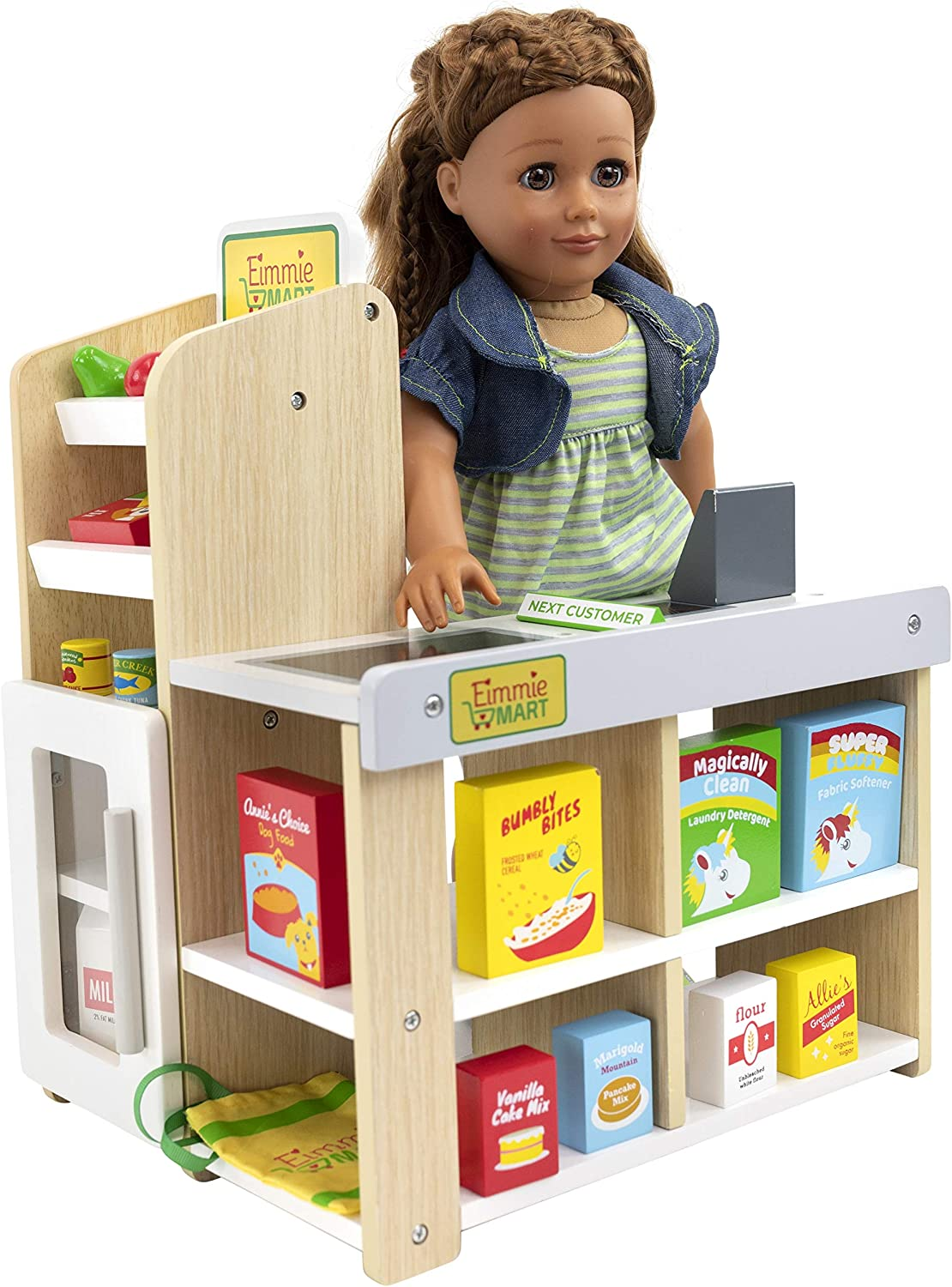 "Playtime by Eimmie Grocery Store Stand Playset - Grocery Store Pretend Play with Play Food & Check Out Stand - Play Store Doll Accessories for 18"" Dolls"