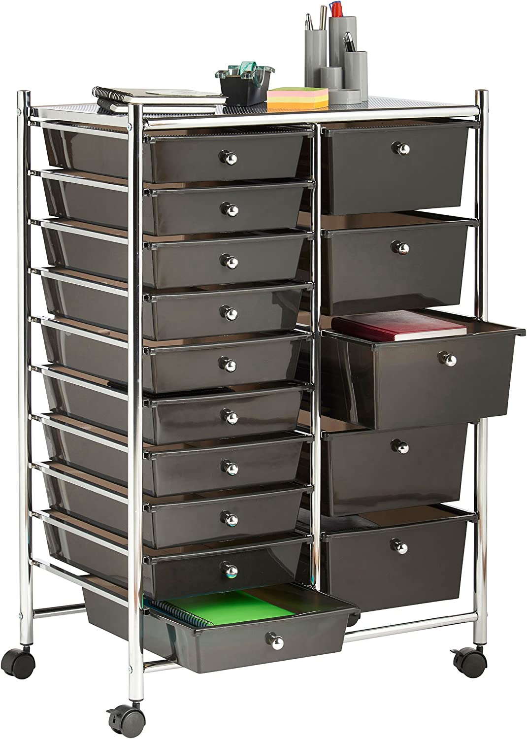 Vonhaus 15 Drawer Plastic Storage Trolley With Wheels Multipurpose Rolling Cart Drawers Unit For Home Office Stationery Organisation Crafts Salon Make Up Hairdressing Beauty Mobile Design With 10 Tier Shelving Black Amazon Co Uk Kitchen