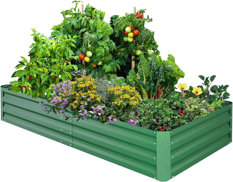 Untimaty Raised Garden Bed Outdoor Metal Raised Planter Box Garden Box Vegetable Planter for Growing Flowers Veggies, Flowers, Herbs, Succulents, Fruit, Vegetables Green 6X3X1 FT
