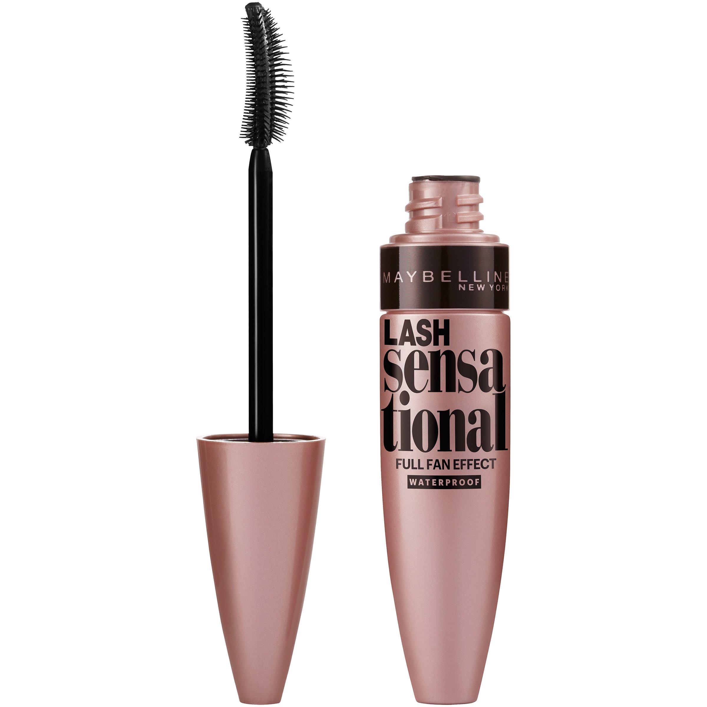 Maybelline Makeup Lash Sensational Waterproof Mascara, Very Black Waterproof Mascara, 0.3 fl oz