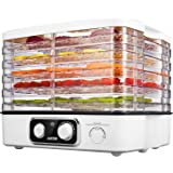 Aicok Food Dehydrator Machine with 5 Stackable Trays, Extensible Space, Adjustable Temperature Control, Noiseless and Lightweight, White