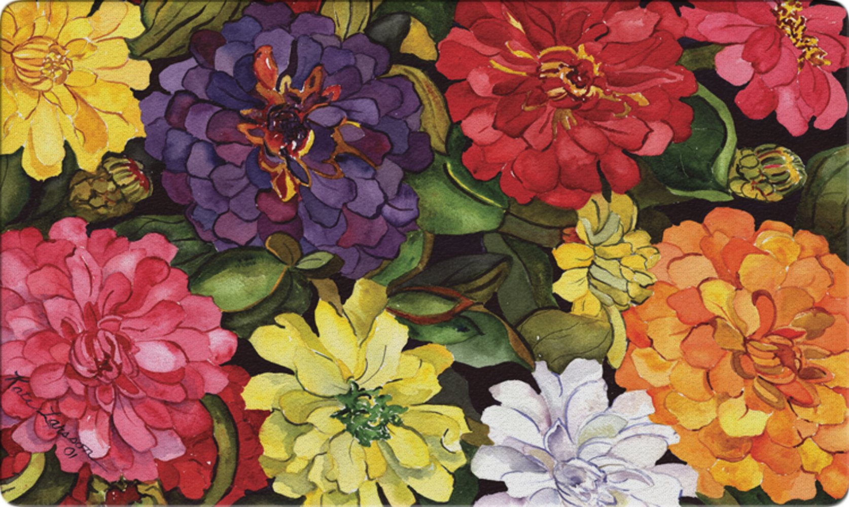 Toland Home Garden Zippy Zinnias 18 x 30 Inch Decorative Floor Mat Flower Colorful Floral Bouquet Doormat
