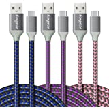 [3-Pack] USB to USB C Cables (3m), Fasgear Extra Long Nylon Braided Durable USB Type C Cables Fast Charge Sync for…
