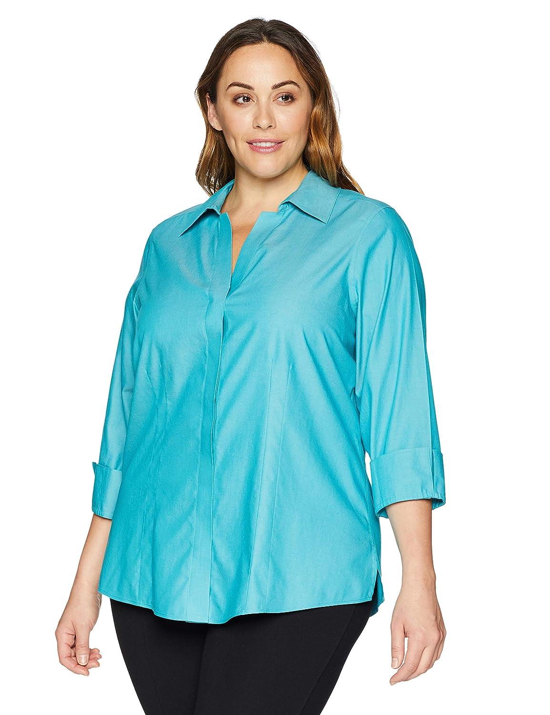 0a891e9a2802eb Foxcroft Plus Size Womens Taylor Essential Non-Iron Blouse at Amazon Women's  Clothing store: