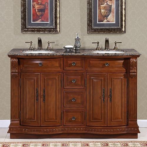 Silkroad Exclusive HYP-0223-BB-UWC-55 Granite Stone Top Double White Sink Bathroom Vanity